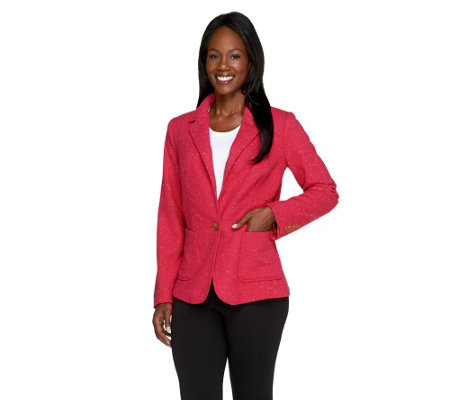 """As Is"" Isaac Mizrahi Live! Single Closure Classic Tweed Blazer"