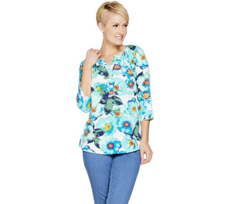 Denim & Co. Floral Print Stretch Woven 3/4 Sleeve Henley Top