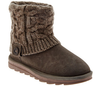 """As Is"" MUK LUKS Flannel-Lined Gored Ankle Boots w/Cuff - A293028"