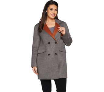 """As Is"" LOGO by Lori Goldstein Button Front Coat with Contrast Lapel - A293428"