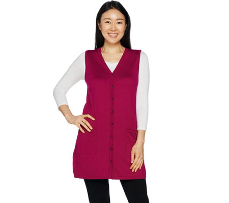 Susan Graver Rayon Nylon Button Front Long Sweater Vest
