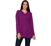 Denim & Co. Active Petite V-Neck Tunic w/ Hood and Pockets - A295728