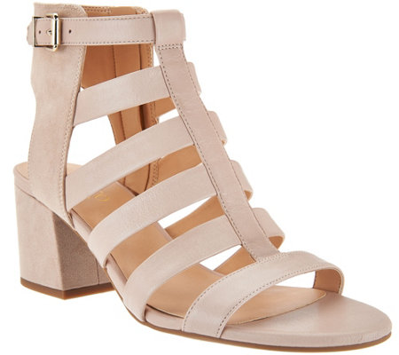 """As Is"" Franco Leather Multi-strap Open Toe Sandals - Mesa"