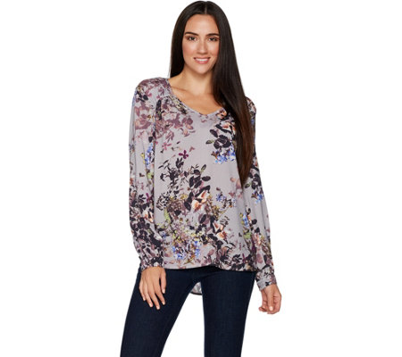 Kelly by Clinton Kelly Printed Woven Top with Neck Details