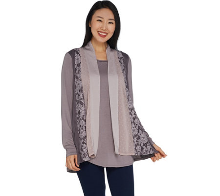 LOGO by Lori Goldstein Open-front Panel Cardigan with Tank