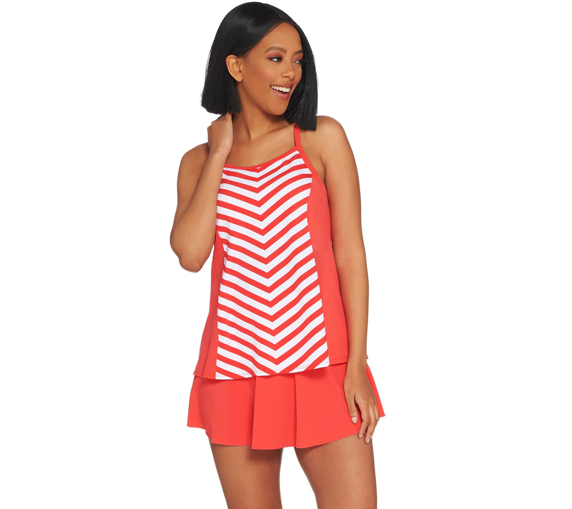 Denim & Co. Beach Stripe Tankini Swimsuit with Skirt - A304228