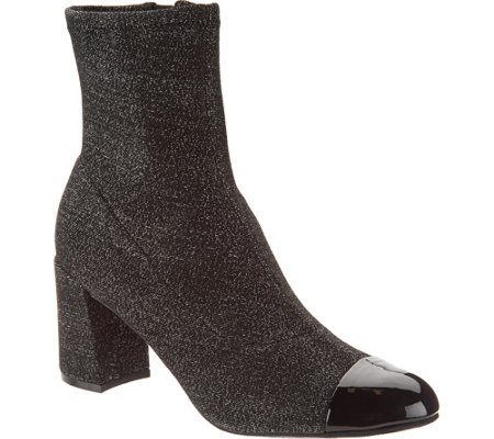 """As Is"" Isaac Mizrahi Live! Metallic Stretch Booties with Patent Toe"