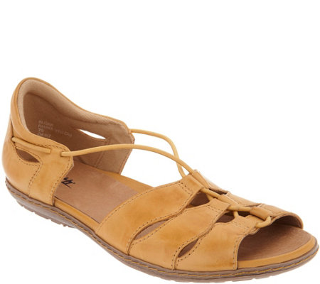 """As Is"" Earth Leather Bungee Slip-on Sandals - Aloha"