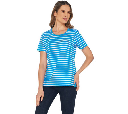 """As Is"" Denim & Co. Striped Round Neck Perfect Jersey Top w/Lace Trim"