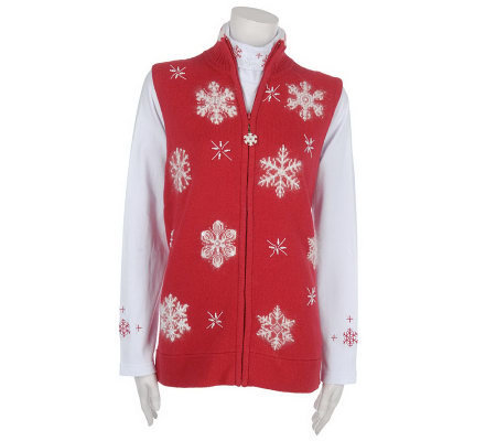 Quacker Factory Snowflake Embroidered Sweater Vest and Turtleneck