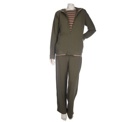 Sport Savvy Stretch French Terry Jacket, Striped T-shirt & Pants