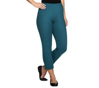 Women with Control Straight Leg Side Slit Crop Pants - A213529