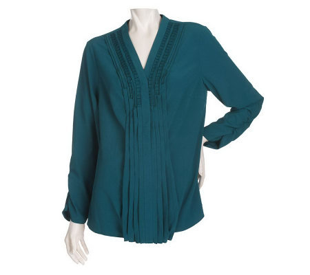 Dennis Basso Long Sleeve Blouse with Pleated Neckline