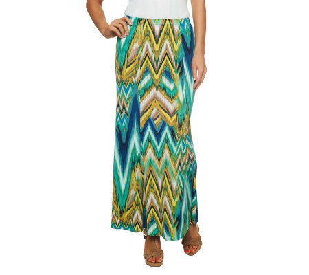Susan Graver Liquid Knit Pull-on Printed Maxi Skirt Petite