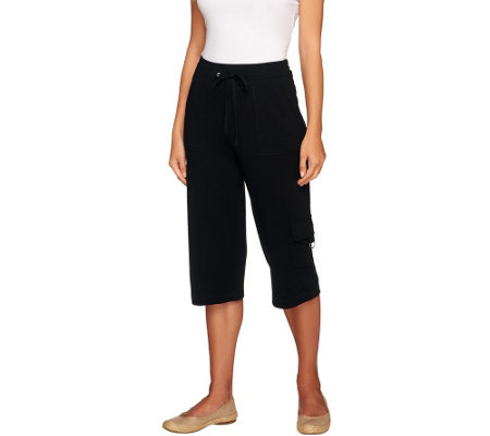 Susan Graver Weekend French Terry Pull-On Capri Pants w/ Cargo Pockets