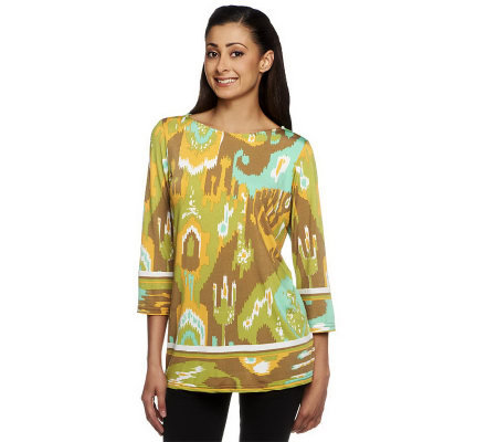 Bob Mackie's 3/4 Sleeve Ikat Print Top with Side Darts