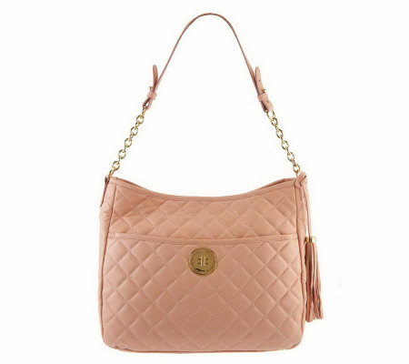 """As Is"" Isaac Mizrahi Live! Bridgehampton Leather Quilted Hobo"