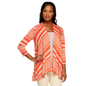 Susan Graver Rayon/Spandex Cascade Front 3/4 Sleeve Cardigan - A251329