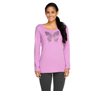 Quacker Factory Fall Diamond Bling Long Sleeve T-shirt - A257629