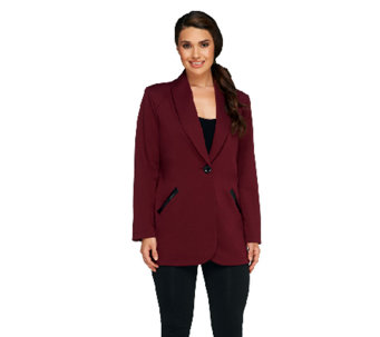 Susan Graver Soho Ponte Boyfriend Jacket w/ Faux Leather Trim - A258629
