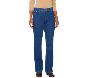 Denim & Co. Petite Slightly Boot Cut 5-Pocket Jeans - A258929