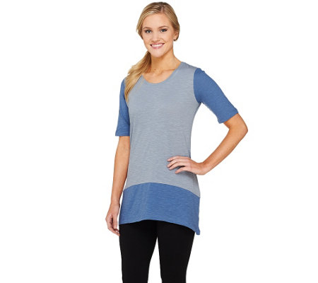 LOGO by Lori Goldstein Short Sleeve Cotton Slub Color-Block Top