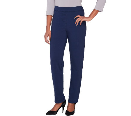 Joan Rivers Regular Ponte Knit Pull-on Tuxedo Pants w/ Grosgrain Trim