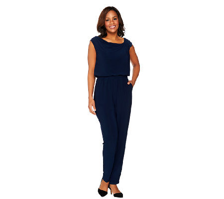 Styled by Joe Zee Jumpsuit with Asymmetrical Neckline Detail