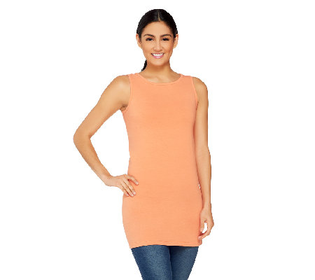 Women with Control Regular Long and Lean Bateau Neck Tank