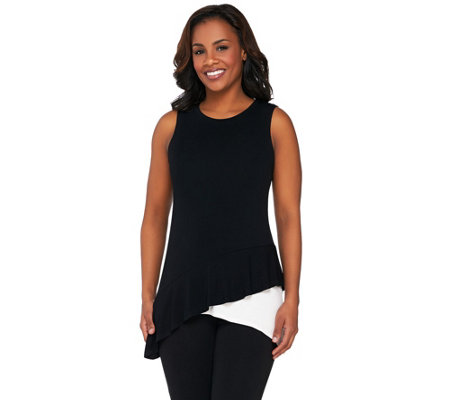 LOGO by Lori Goldstein Sleeveless Knit Top with Tiered Asymmetric Hem