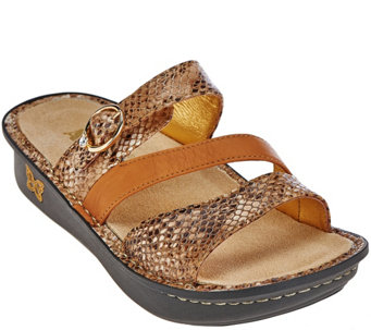 Alegria Leather Slide Triple Strap Sandals - Colette - A263529