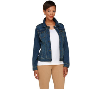 Women with Control Washed Denim Button Front Jean Jacket - A264929