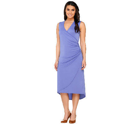 Susan Graver Premier Knit Sleeveless Wrap Dress w/ Hi-Low Hem
