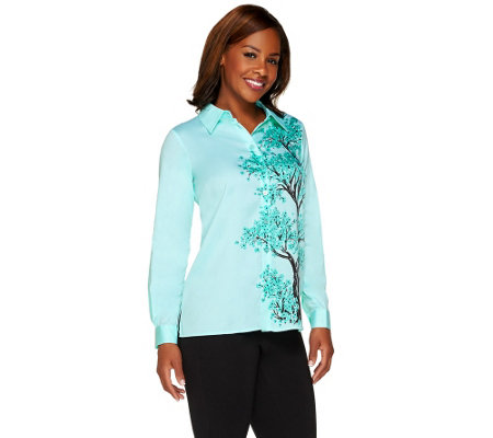 Bob Mackie's Printed Flowering Tree Button Front Collared Top