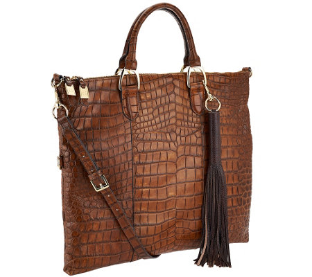 G.I.L.I. Croco Embossed Italian Leather Foldover Tote