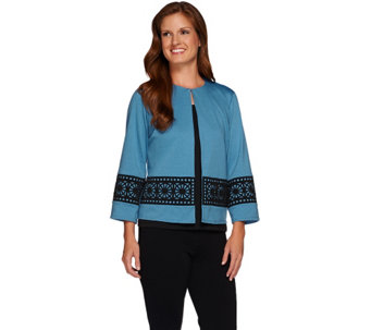 Bob Mackie's Ponte Knit Jacket with Laser Cut Overlay Detail - A268229