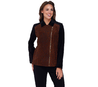 Dennis Basso Printed Suede Zip Front Moto Jacket - A268829