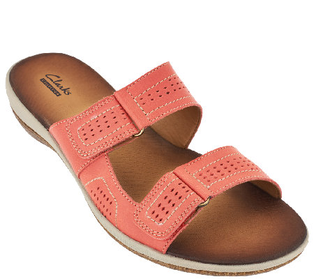 """As Is"" Clarks Double Strap Leather Sandals - Taline Pop"
