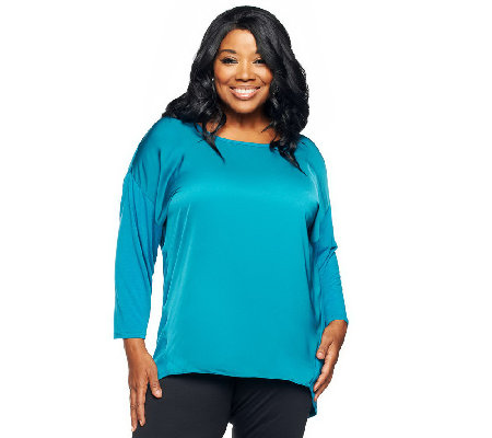 """As Is"" Jennifer Hudson Collection Mixed Media Top w/ Hi-Lo Hem"