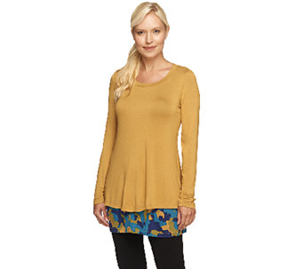 """As Is"" LOGO by Lori Goldstein Twin Set with Knit Top and Printed Tank - A274629"