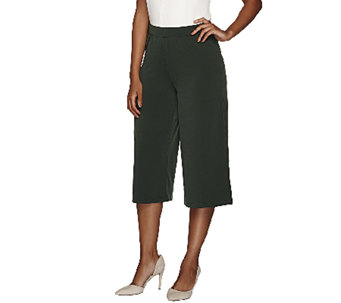 """As Is"" Susan Graver Liquid Knit Comfort Waist Pull-On Gaucho Pants - A275129"