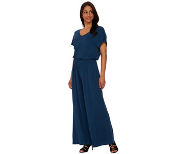 Lisa Rinna Collection Regular V-neck Wide Leg Knit Jumpsuit - A275529