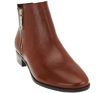 """As Is"" Marc Fisher Leather Zipper Ankle Boots - Geri - A275629"