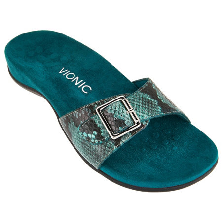 Vionic Orthotic Leather Slide Sandals - Santos