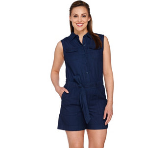 Isaac Mizrahi Live! TRUE DENIM Chambray Romper - A276929