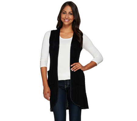 """As Is"" Attitudes by Renee Sweater Vest W/ Faux Leather Trim"
