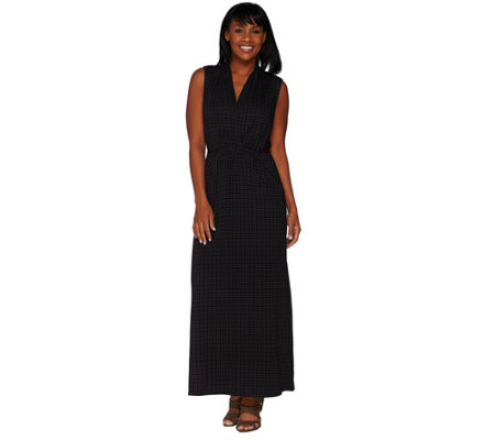 Lisa Rinna Collection Petite Printed Knit Maxi Dress with Tie Detail