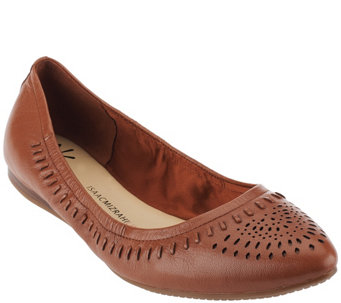 """As Is"" Isaac Mizrahi Live! Perforated Leather Pointed Flats - A278629"