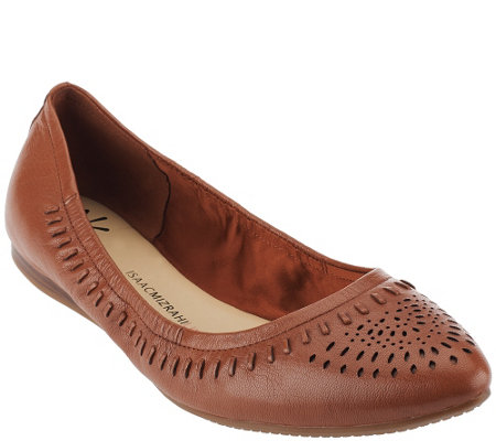 """As Is"" Isaac Mizrahi Live! Perforated Leather Pointed Flats"