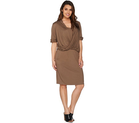 H by Halston Knit Dress with Twist Front Detail